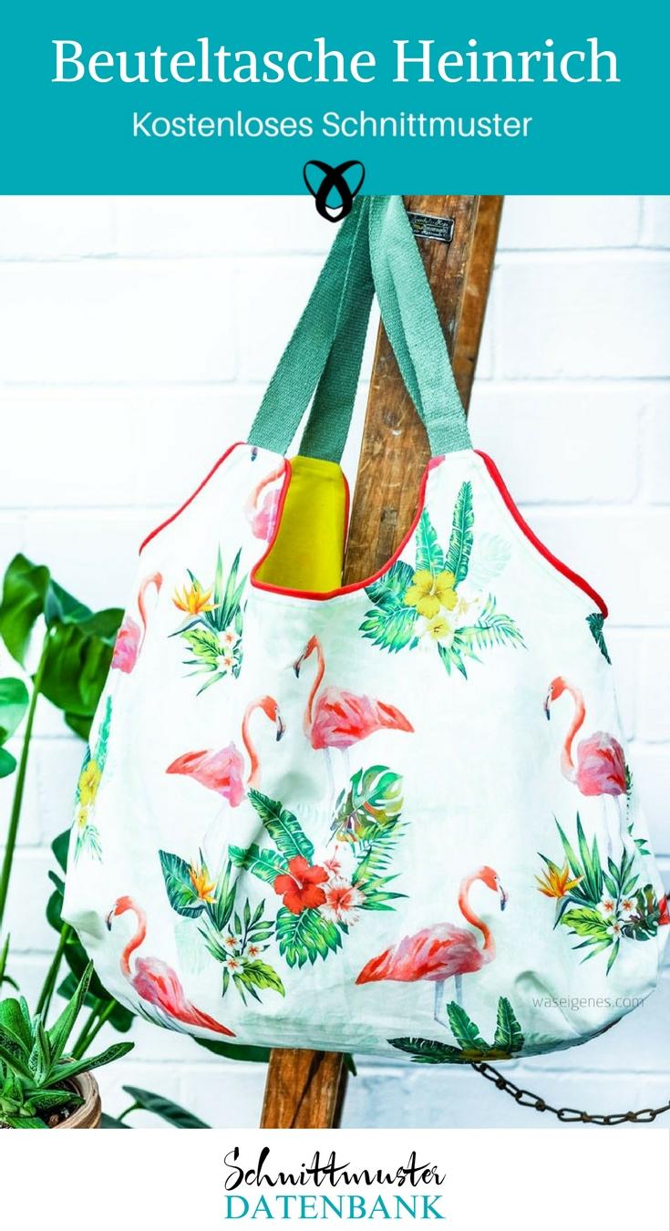 Beuteltasche Tasche Einkaufstasche Einkaufsbeutel nähen Schnittmuster kostenlos gratis Freebie Datenbank