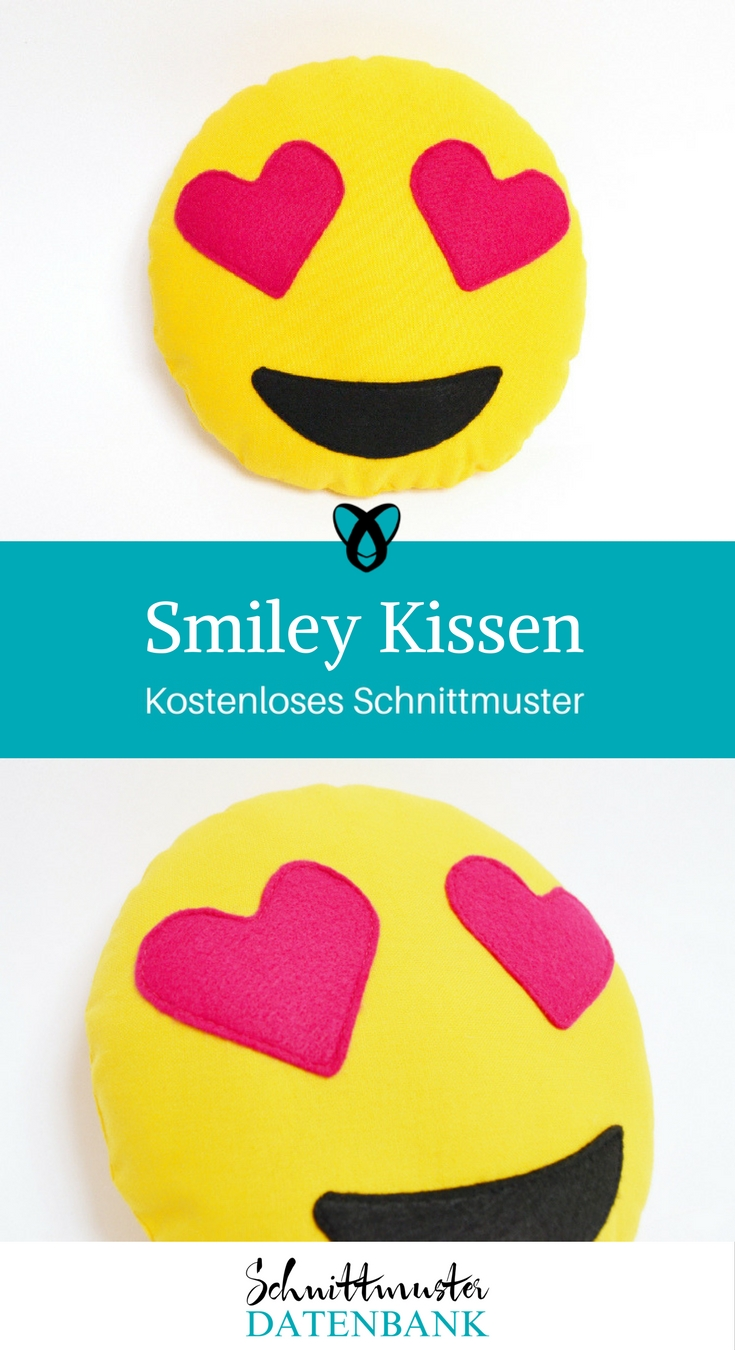 Smiley Kissen Emoji Herzaugen verliebter nähen Schnittmuster kostenlos gratis Freebie
