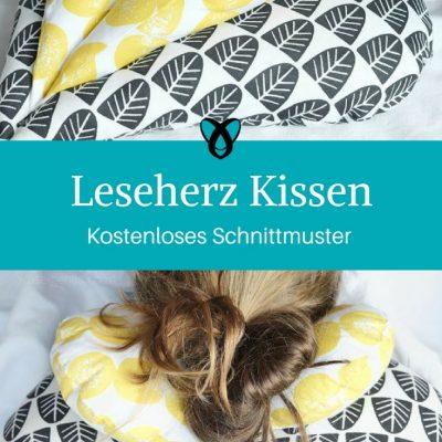 Leseherz Kissen Herzkissen nähen Schnittmuster kostenlos Geschenkidee Geschenk Weihnachten Geburtstag Mutter Oma
