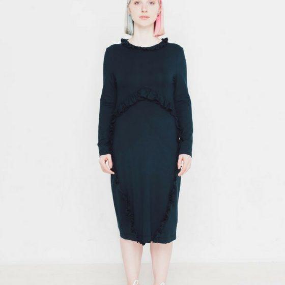 Kleid mit Ärmeln und Rüschen nähen Schnittmuster kostenlos gratis Freebie Jerseykleid für Frauen Damen