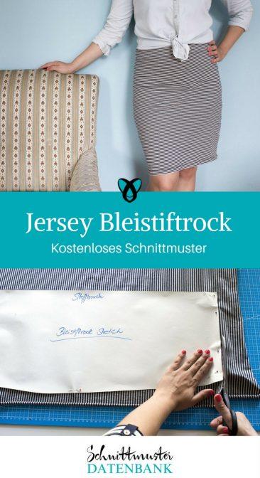 Jersey Bleistiftrock Schnittmuster kostenlos Rock aus Jersey eng knielang gratis Freebie Freebook nähen Nähideen Ideen