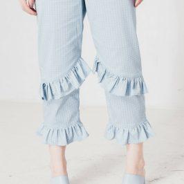 Schnittmuster kostenlos Rüschenhose Hose mit Rüschen nähen gratis Anleitung Trend 3/4 für Damen Frauen