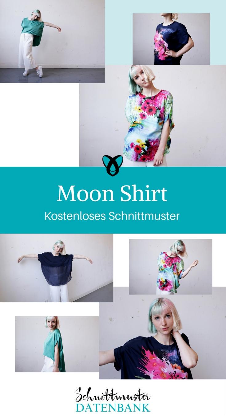 Oversize Shirt kostenloses Schnittmuster T-Shirt nähen lockeres Oberteil Damen Moonshirt Shirt gratis Schnittmuster Datenbank