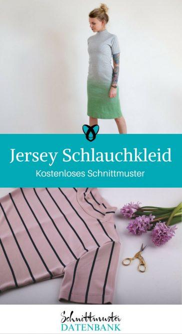 Kostenloses Schnittmuster Kleid nähen Jersey Schlauchkleid für Damen Jerseykleid kostenlos gratis Freebie eng mit Stehkragen Ärmeln T-Shirtkleid