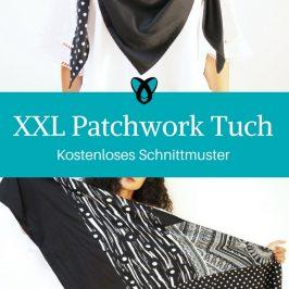 Tuch Dreieckstuch nähen kostenloses Schnittmuster XXL Patchwork Schal dreieckig Anleitung Video für Erwachsene für Männer Herren Damen Frauen gratis Freebook DIY MODE