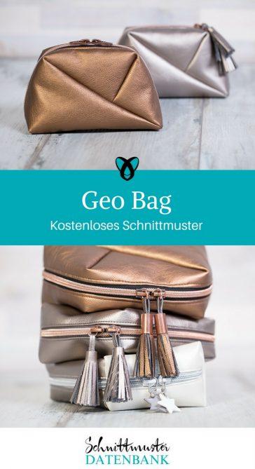 Kosmetiktasche Schnittmuster kostenlos Geo Bag Pattydoo nähen gratis Freebie Geschenkidee Nähidee Kleinigkeit Geschenk