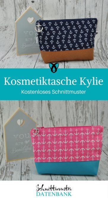 Kosmetiktasche nähen Schnittmuster kostenlos Kylie gratis Freebie Freebook