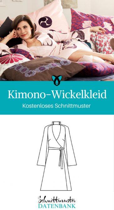 Kimono-Wickelkleid kostenloses Schnittmuster Kleid nähen für Frauen Nähprojekt
