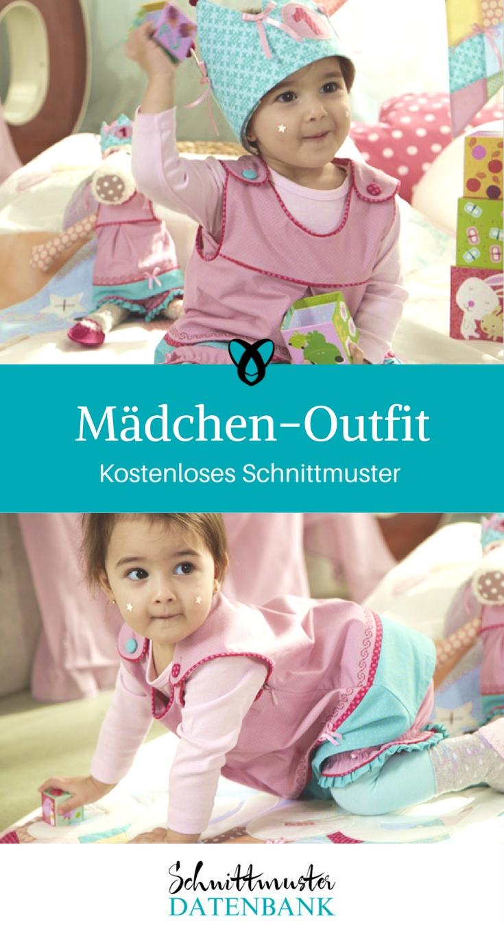 Maedchen-Outfit nähen Kinderkleid mit Hose und Krone kostenloses Schnittmuster Geburtstagsoutfit Geschenk für Mädchen