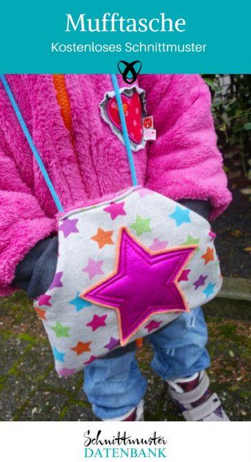 Muff Mufftasche kostenloses Schnittmuster kostenlose Nähanleitung Geschenk Kinder Stoffreste Nähen mit Fleece