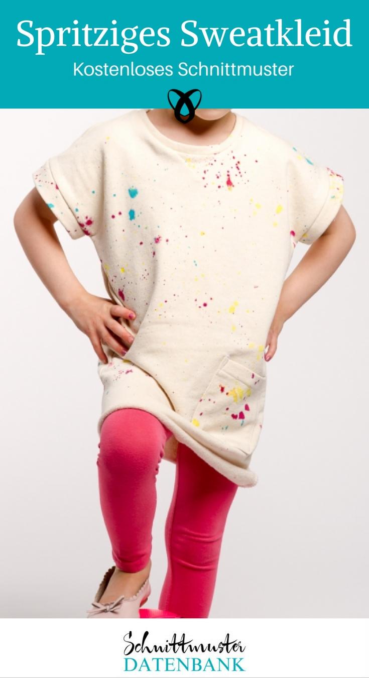 Sweatkleid Kinderkleid nähen kostenloses Schnittmuster Nähanleitung Kleid Kinder mit Sweat nähen