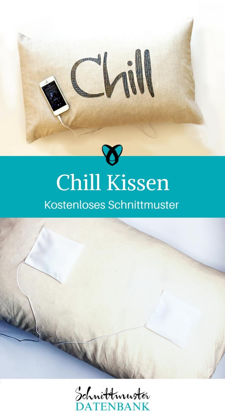 Chillkissen Kissen mit Lautsprechern Kostenloses Schnittmuster kostenlose Nähanleitung Kissen mit Musik Geschenk nähen