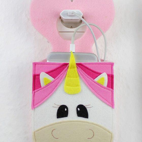 Handyladetasche Einhorntasche Nähen mit Filz Handytasche kostenloses Schnittmuster kostenlose Nähanleitung