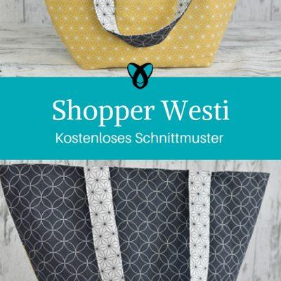 Shopper Westi Handtasche kostenloses Schnittmuster kostenlose Nähanleitung Einkaufstasche Nähen mit Baumwolle
