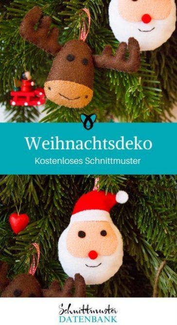 Weihnachtsdeko naehen gratis schnittmuster elch weihnachtsmann weihnachten deko baumschmuck