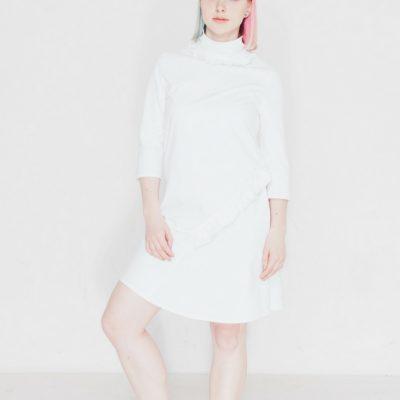 kleid madylon kostenloses schnittmuster kostenlose Nähanleitung Kleid mit Rüchen Kleid mit Turtleneck Kleid mit Stehkragen