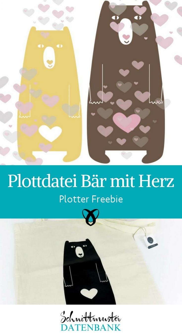 Plotten Plottdatei gratis Bär mit Herz Bärenmotiv