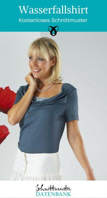 wasserfallshirt nähen kostenloses Schnittmuster Damenoberteil Shirt Frauen Jerseyshirt