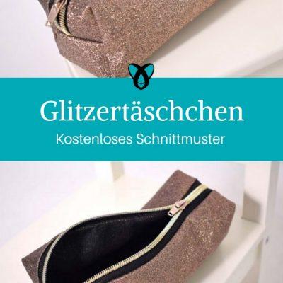 Glitzertasche Stiftetasche Mäppchen kostenloses Schnittmuster kostenlose Nähanleitung