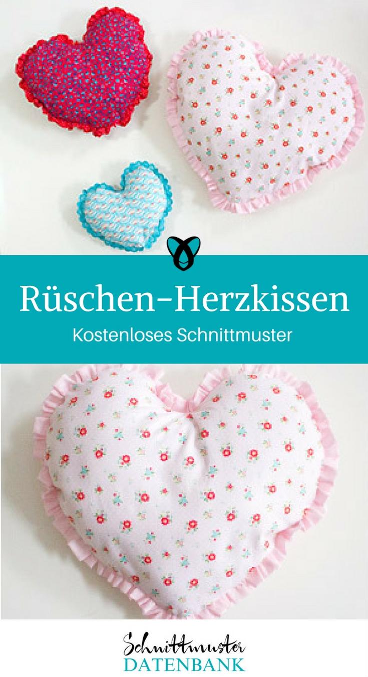 Herzkissen mit Rüschen Geschenk zum Valentintstag kostenloses Schnittmuster kostenlose Nähanleitung