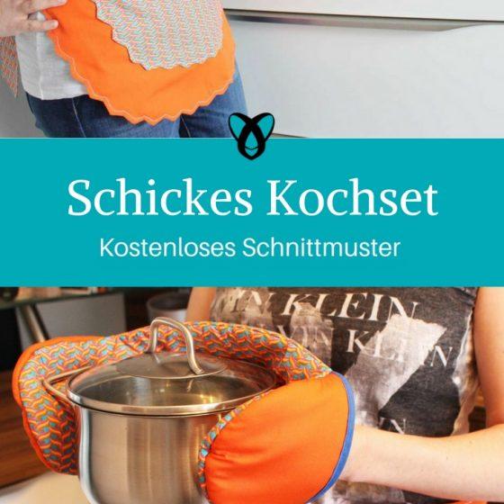 Kochset Schürze Topflappen Topfhandschuh nähen kostenloses Schnittmuster kostenlose Nähanleitung