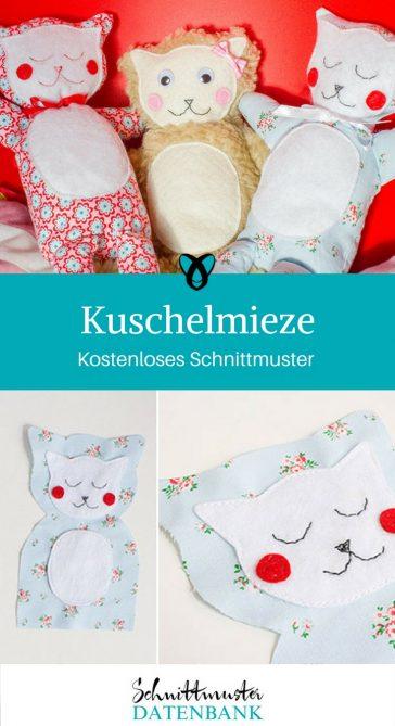 Kuschelmieze Rasseltier Kuscheltier Katze nähen kostenloses Schnittmuster Gratis Nähanleitung Babyspielzeug Freebie gratis geschenkidee geschenk nähidee ideen