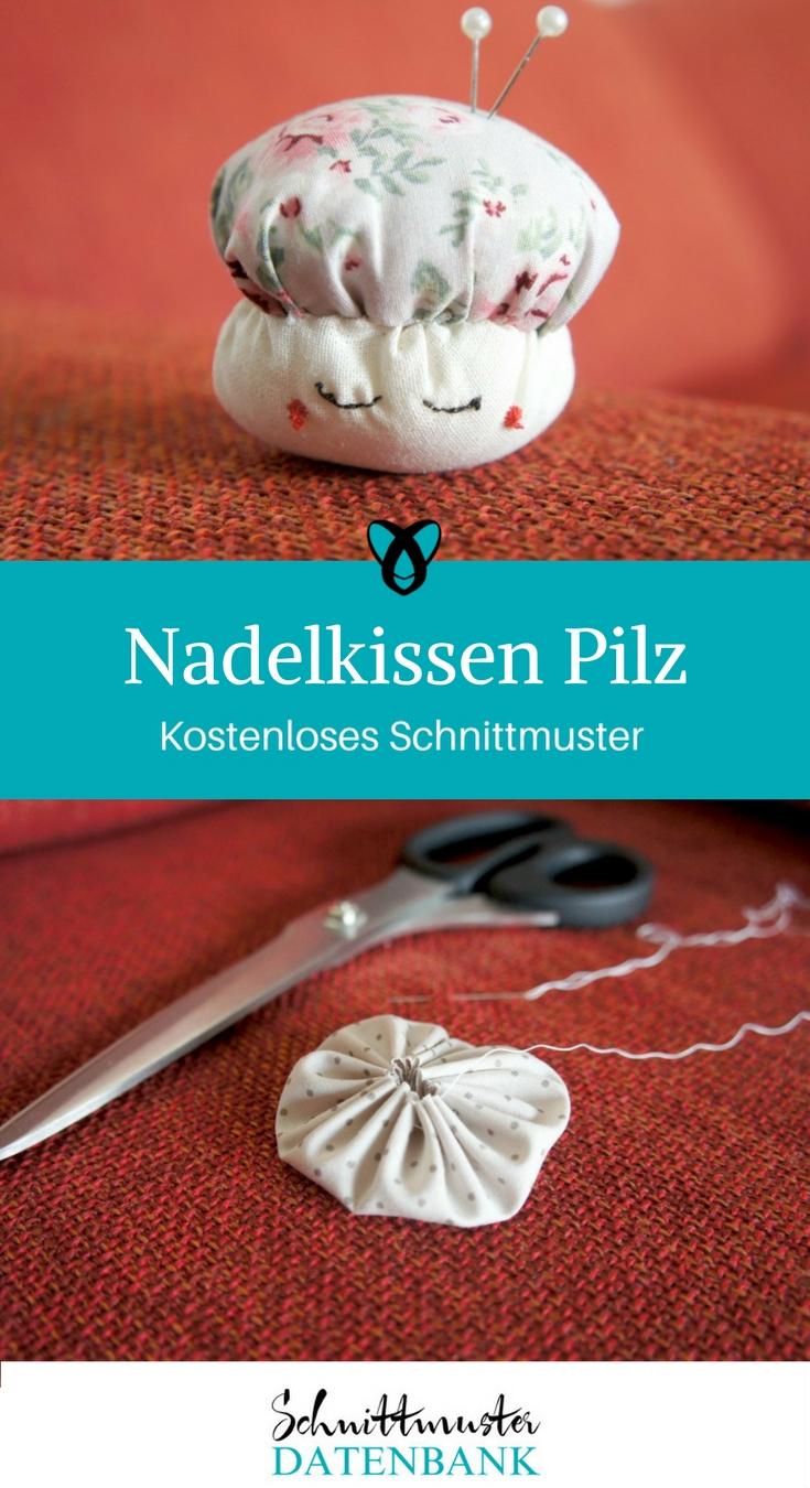 Nadelkissen Pilz kostenloses Schnittmuster kostenlose Nähanleitung schnelle Nähprojekte