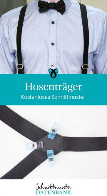 Verstellbare Hosenträger Nähen für den Mann kostenloses Schnittmuster kostenlose Nähanleitung
