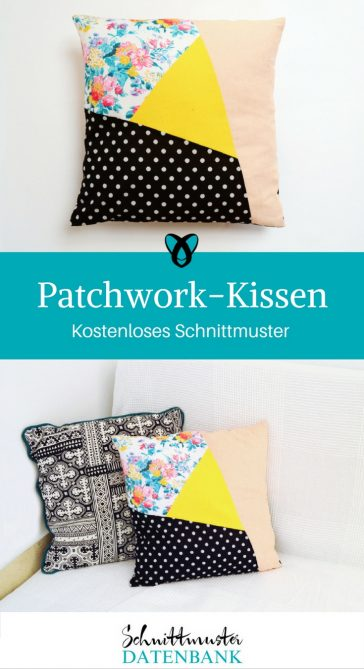 Patchworkkissen Kissen Patchwork Kostenloses Schnittmuster kostenlose Nähanleitung