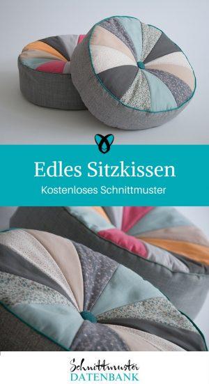 Sitzkissen Kissen nähen kostenlose Nähanleitung kostenloses Schnittmuster Ideen für Zuhause