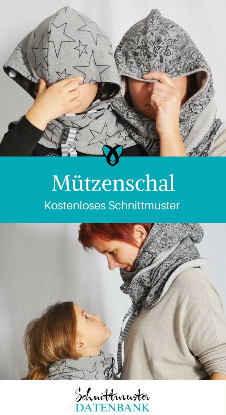 Mützenschal Schal mit Mütze Kapuzenschal kostenlose Schnittmuster Gratis-Nähanleitungen