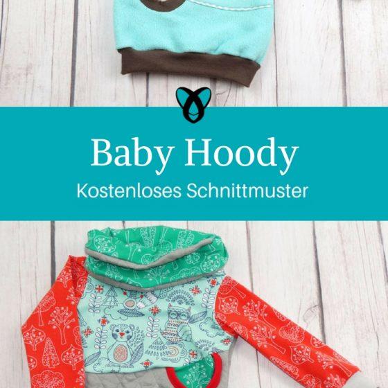 Baby-Hoody Kapuzenpullover Baby Nähen fürs Baby kostenloses Schnittmuster Gratis-Nähanleitung