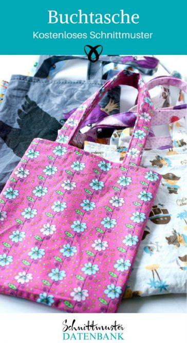 Buchtasche Tasche für Bücher Shopper Baumwolltasche kostenloses Schnittmuster Gratis-Nähanleitung