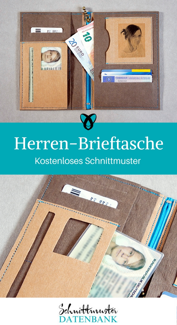 Herren-Brieftasche Geldbörse Brieftasche Nähen mit Snap-Pap kostenlose Schnittmuster Gratis-Nähanleitungen