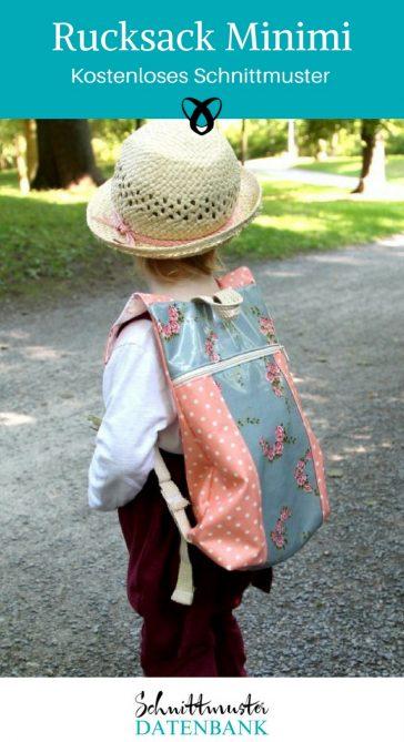 Kinderrucksack Kindergartentasche Rucksack Kinder kostenlose Schnittmuster Gratis-Nähanleitungen