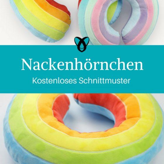 Nackenhörnchen Kissen Reisekissen Regenbogenkissen kostenlose Schnittmuster Gratis-Nähanleitungen