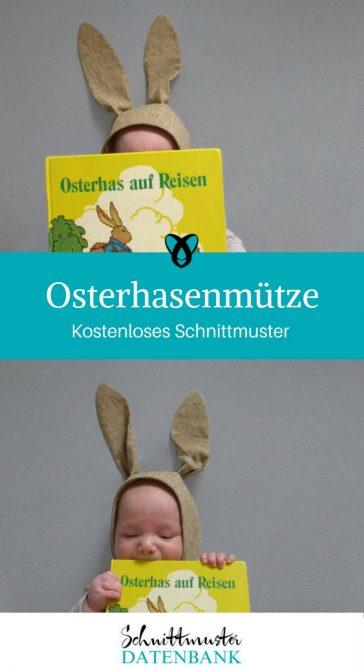 Osterhasenmütze Babymütze mit Ohren Mütze mit Hasenohren kostenlose Schnittmuster Gratis-Nähanleitungen
