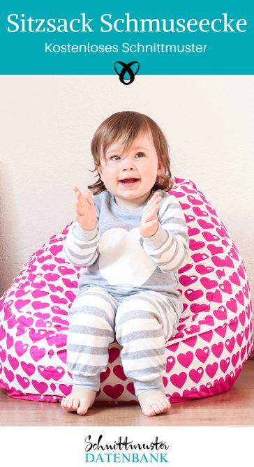 Sitzsack Schmuseecke Nähen fürs Kinderzimmer kostenloses Schnittmuster Gratis-Nähanleitung