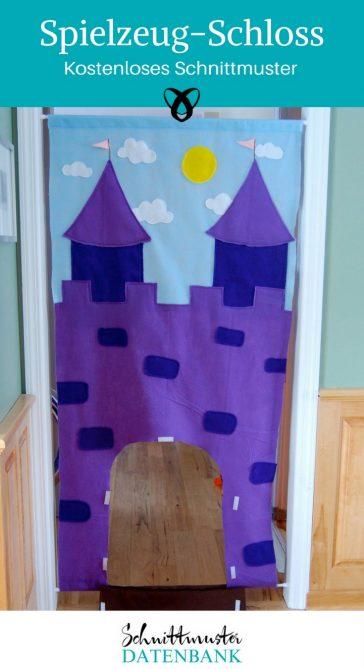Spielschloss Prinzessinnenschloss Nähen mit Filz Spielzeug nähen kostenloses Schnittmuster Gratis-Nähanleitung
