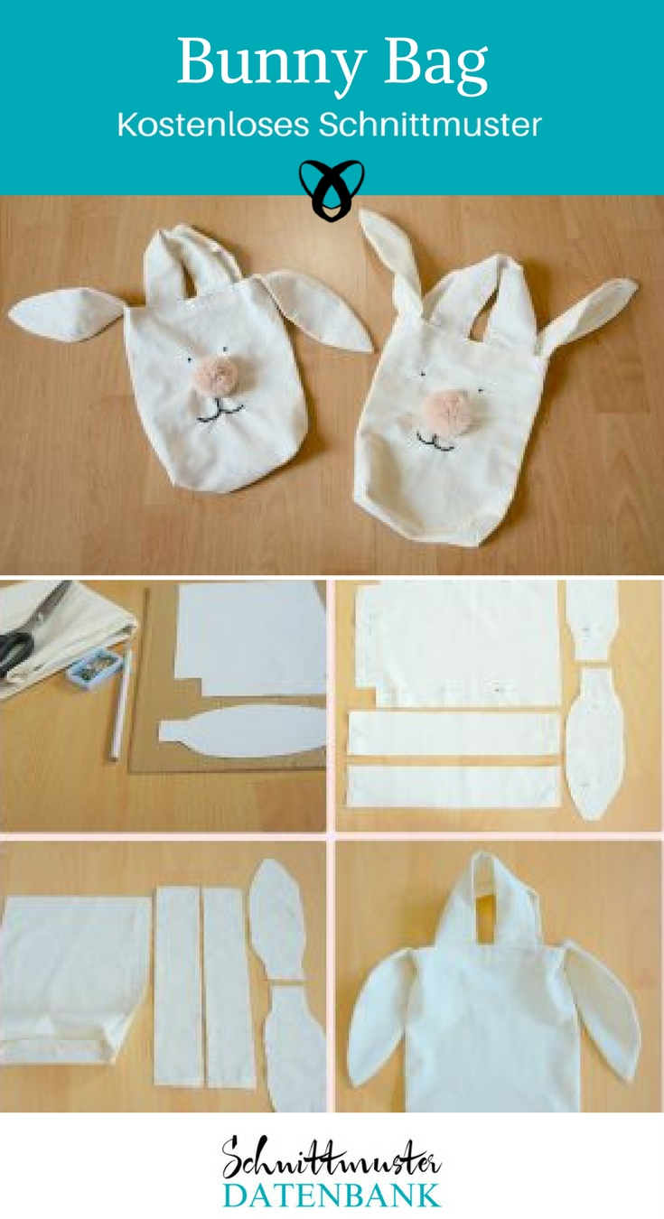 Bunny Bag Tasche mit Hasenohren Nähen für Ostern kostenloses Schnittmuster Gratis-Nähanleitung