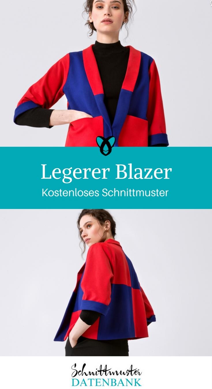 Blazer Jacke Business-Outfit kostenloses Schnittmuster Gratis-Nähanleitung