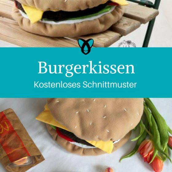 Burgerkissen Kissen in Burgerform kostenloses Schnittmuster Gratis-Nähanleitung