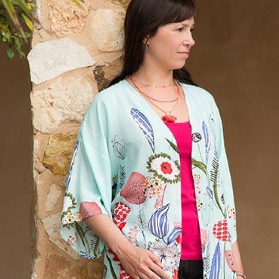 Kimonojacke legere Jacke leichte Jacke Ideen für Frauen Bekleidung Oberteil kostenloses Schnittmuster Gratis-Nähanleitung