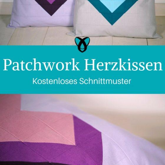 Patchwork Herzkissen kostenloses Schnittmuster Gratis-Nähanleitung