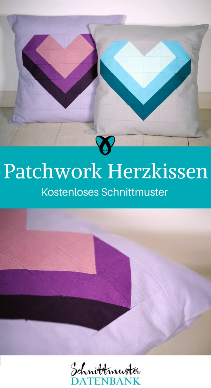Patchwork-Herzkissen – Schnittmuster Datenbank