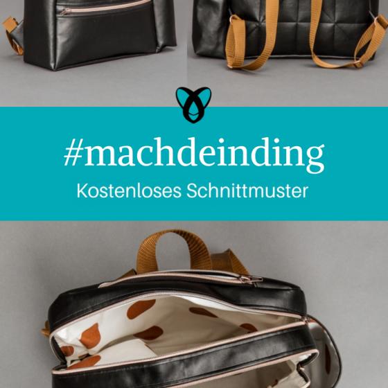 Rucksack #machdeinding Tasche kostenloses Schnittmuster Gratis-Nähanleitung