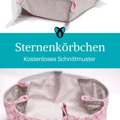 Sternenkörbchen Brotkorb Geschenkkorb kostenloses Schnittmuster Gratis-Nähanleitung