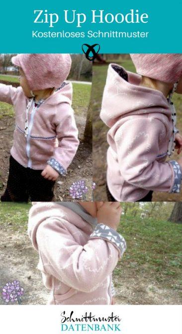 Zip Up Hoodie Kapuzenjacke Kinder Kinderjacke kostenloses Schnittmuster Gratis-Nähanleitung