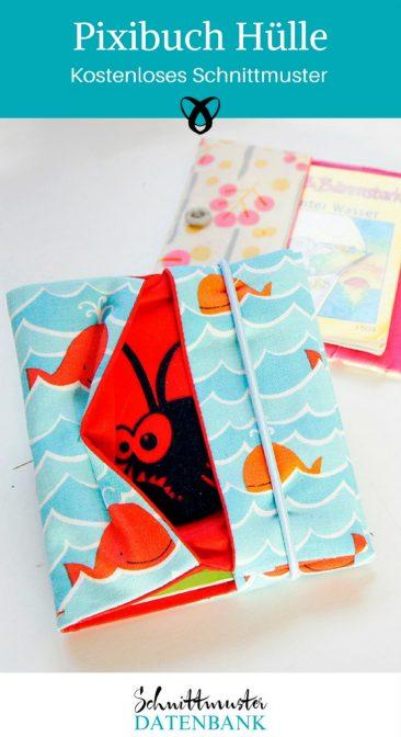 Pixibuchhülle nähen kostenloses Schnittmuster Pixibuch für Kinder Hülle Anleitung