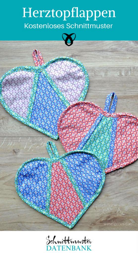 Herztopflappen Topflappen Nähen für Mama Nähen für Zuhause Gratis-Nähanleitung kostenlose Schnittmuster